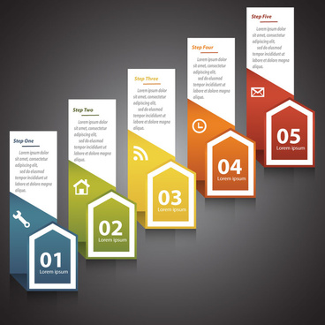 steps infographic diagram design with 3d vertical banners