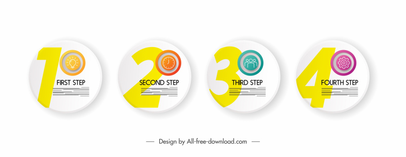steps infographic elements round disc sketch modern design