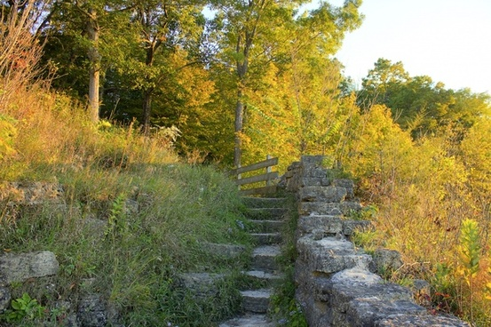 steps to the balcony at wyalusing state park wisconsin