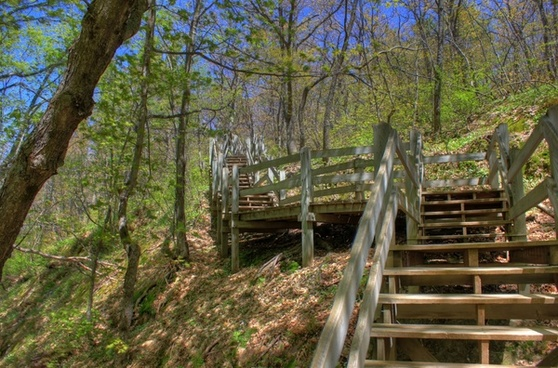 steps up to the platform at porcupine mountains state park michigan
