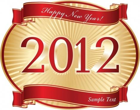 2012 new year label template elegant shiny decor