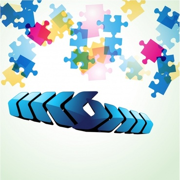 technology background modern arrows puzzle jigsaw shapes