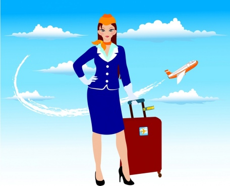 stewardess icon colorful sky flying airplane background