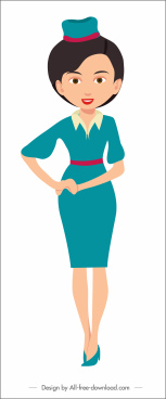 stewardess job icon cartoon character sketch
