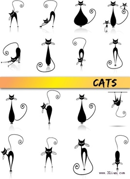 black cat icons collection classical curved handdrawn sketch