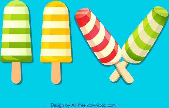 stick ice cream icons colorful modern stripes decor