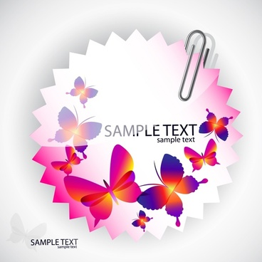 decorative clip label template elegant colorful butterflies sketch