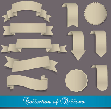 stickers of exquisite ribbons vector