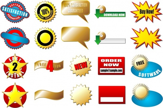stickers ribbon ui dialog box explosion vector