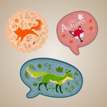 stickers sets wild fox icons decor various shapes
