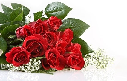 stock photo of red roses bouquet