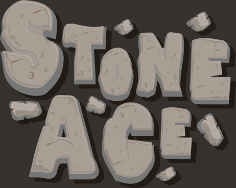 stone age background grey texts decor rock icons