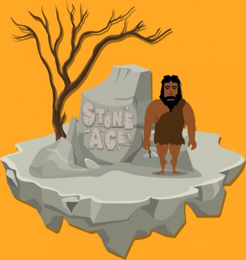 stone age background rock human icon cartoon design