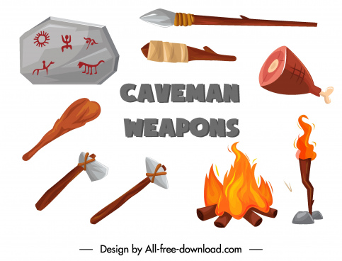 stone age design elements tools food fire sketch