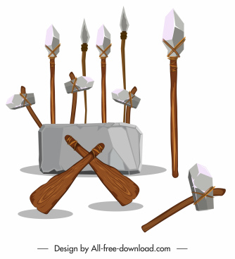 stone ages weapon icons lances daggers axes sketch