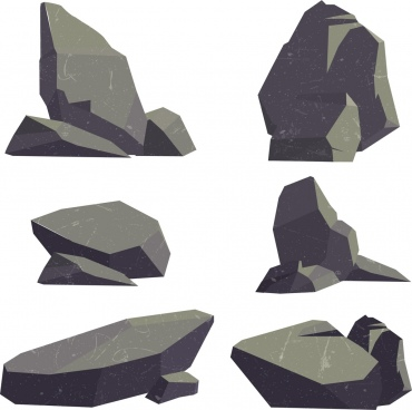 stone icons collection 3d retro design