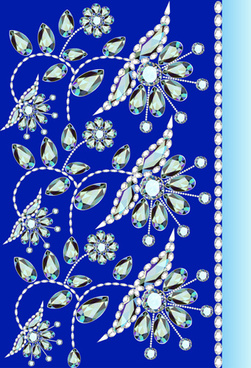 stones and diamonds floral background vector