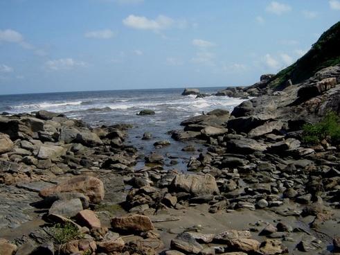 stones blue sea