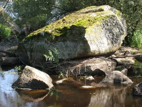 stones water moss