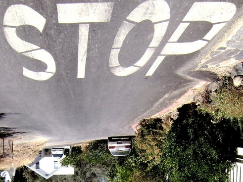 stop sign inverted
