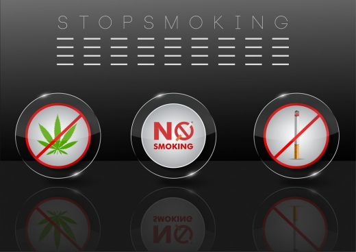 stop smoking banner shiny reflection design circle elements