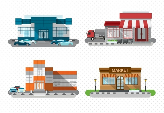 store design sets with colored sketches illustration