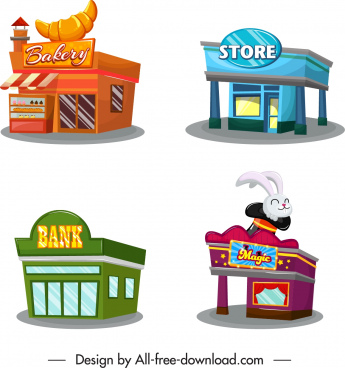 store office icons colorful 3d sketch