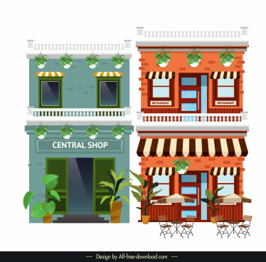 store shop facade templates colored classical decor