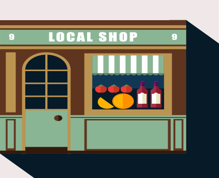 stores with long shadow flat vector