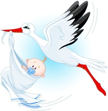 baby birth background bird infant icons cartoon design