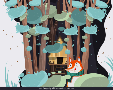 story background jungle cottage stylized fox sketch
