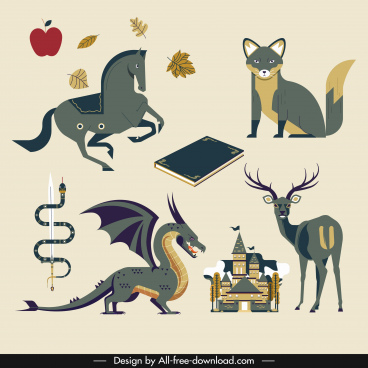 story book design elements classical animals objects sketch
