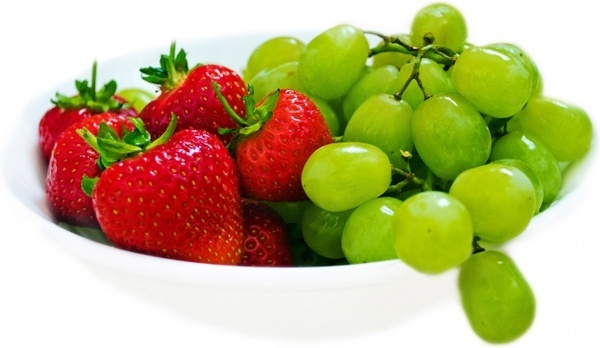 strawberries and green grapes
