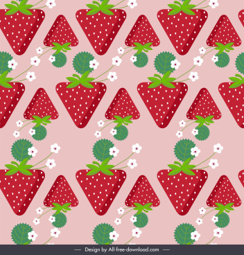 strawberries background colored flat repeating symmetric design
