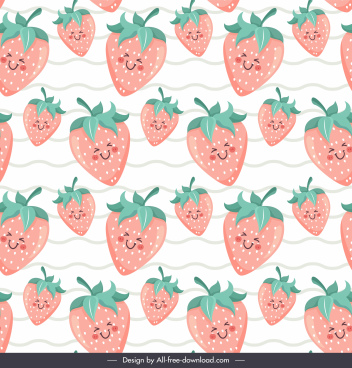 strawberries background cute stylized design