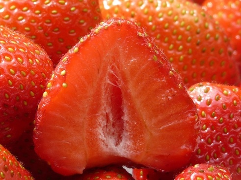 strawberries cut in half fruity