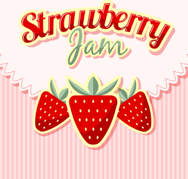 strawberries jam with pink background vector