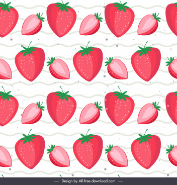 strawberries pattern template colored flat repeating sketch