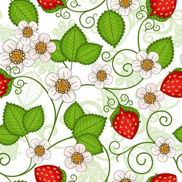 strawberries seamless pattern vector