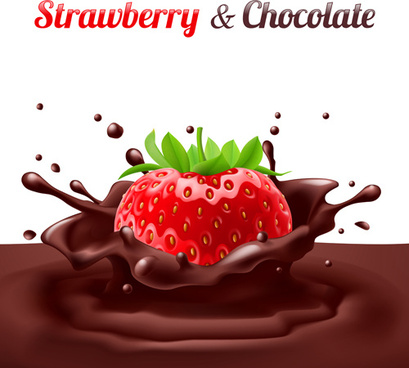 strawberries with chocolate creative vector