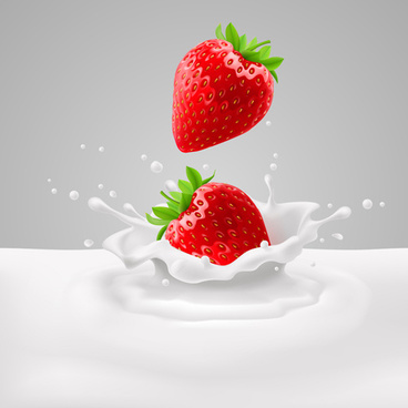 strawberries with milk vector backgrounds