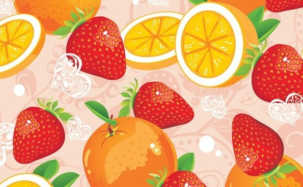 fruits background orange strawberry icons