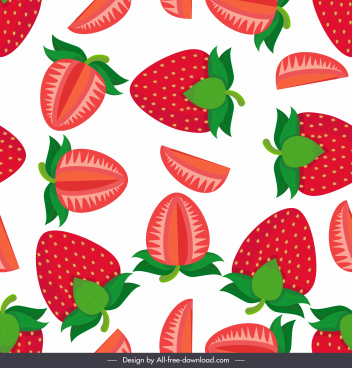 strawberry background bright colored flat sketch