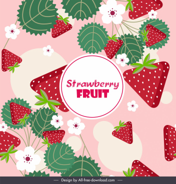 strawberry background bright colorful flat decor