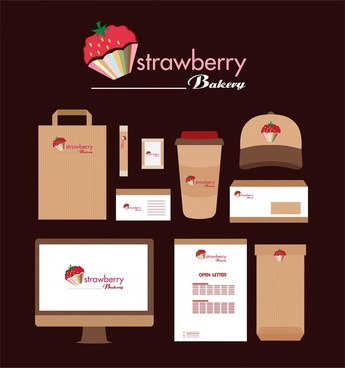 strawberry bakery identity various symbols on dark background