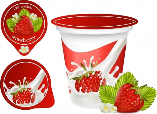 strawberry cream advertising banner modern colorful 3d decor