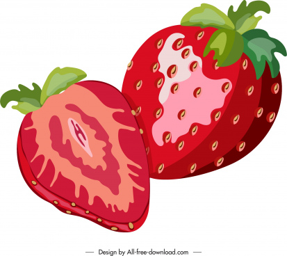strawberry icon red shiny closeup design slice sketch