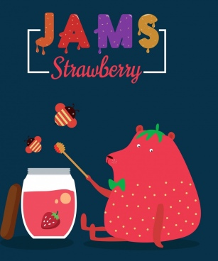 strawberry jam advertising bear honeybees icons colorful design