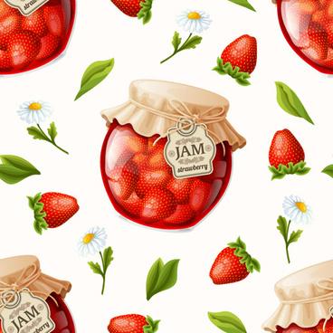 strawberry jam seamless pattern vector