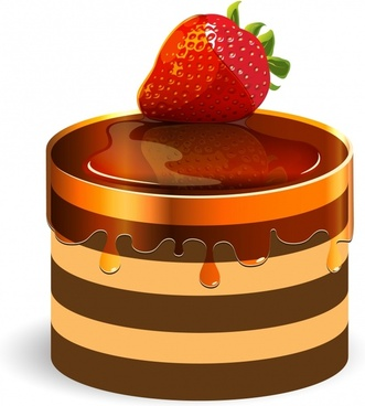 strawberry cake icon shiny modern 3d sketch